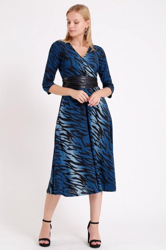Kruvaze Yaka Uzun Kol Mavi Zebra Desenli Elbise