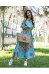 Bebe Mavisi Yanları Yırtmaçlı Elbise