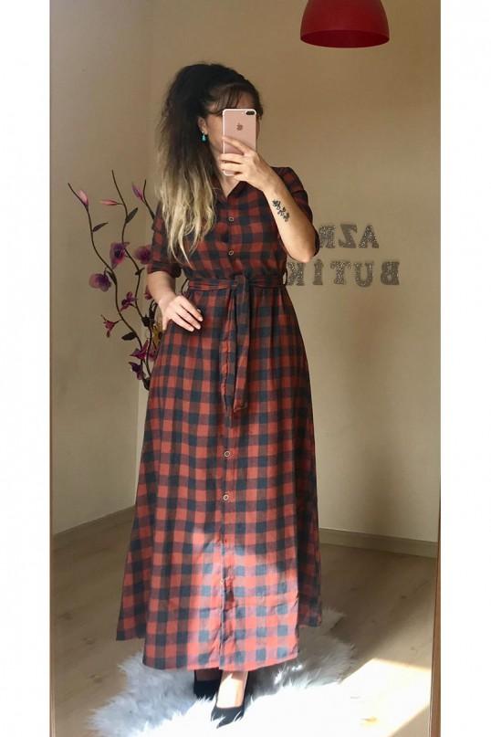 Kiremit Kareli Gömlek Elbise