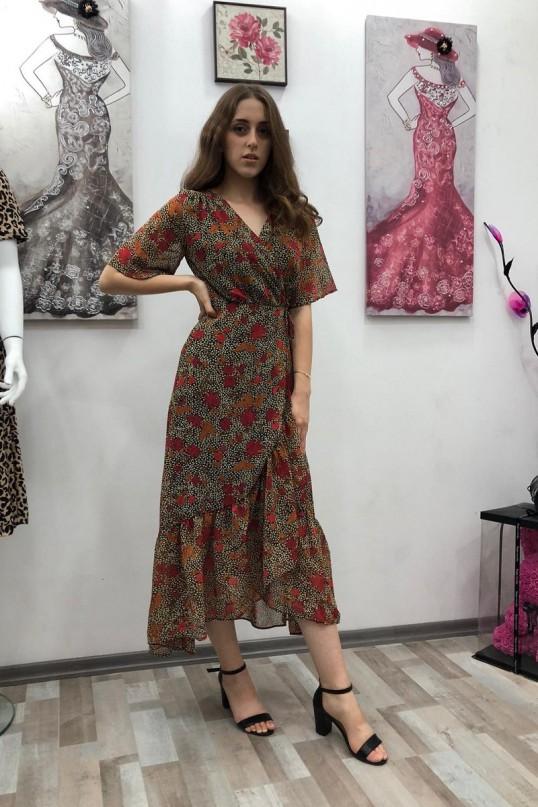 Kısa Kol Yapraklı Koyu Renk Elbise