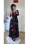 Kruvaze Yaka Uzun Kol Uzun Çiçekli Süet Elbise