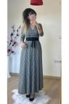 Kruvaze Yaka Uzun Kol Uzun Kazayağı Süet Elbise