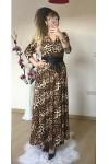 Kruvaze Yaka Uzun Kol Uzun Açık Renk Leopar Süet Elbise