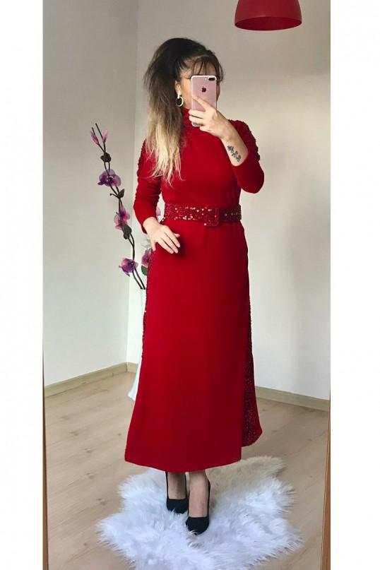 Pul Detaylı Triko Elbise  KIRMIZI
