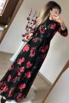 Balıkçı Yaka Çiçekli Süet Elbise