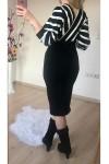 Üst Çizgili Alt Siyah Triko Elbise -BEYAZ