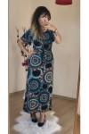 Kolları Volanlı Mavi Şal Desen Elbise