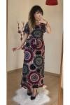 Kolları Volanlı Bordo Şal Desen Elbise