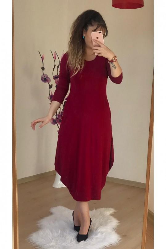 Uzun  Kol Şalvar Elbise Bordo
