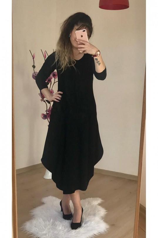 Uzun  Kol Şalvar Elbise Siyah