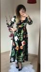 Yaka Lastikli Bahar Elbise