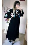 Kolları Katlı Nakışlı Elbise