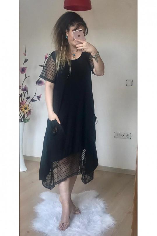 Tül Detaylı Şalvar Elbise Siyah