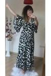 Kol Volanlı Dalmaçya Desen Elbise