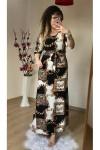 Uzun Zincir Desen Krep Elbise