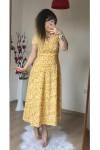 Kısa Kol Sarı Mini Çiçekli Krep Elbise