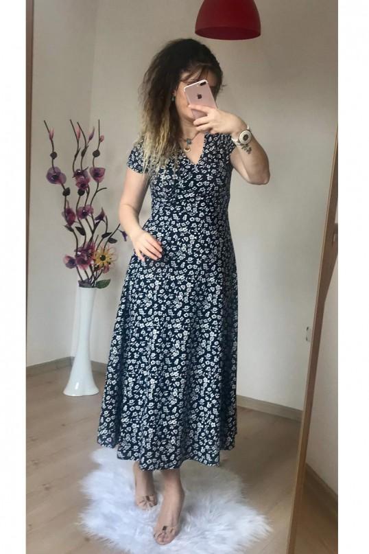 Kısa Kol Siyah Mini Çiçekli Krep Elbise