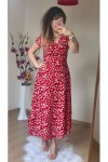 Kısa Kol Kırmızı Mini Çiçekli Krep Elbise