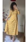 Uzun Kol Sarı Mini Çiçekli Krep Elbise