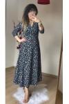 Uzun Kol Siyah Mini Çiçekli Krep Elbise