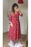 Uzun Kol Kırmızı Mini Çiçekli Krep Elbise