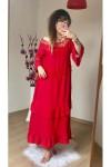 İspanyol Kol Dantel Detay Elbise Kırmızı