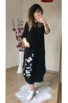 Nakış İşlemeli Gömlek Elbise Siyah