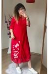 Nakış İşlemeli Gömlek Elbise Kırmızı