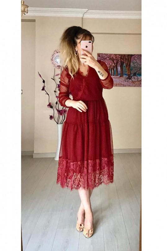 Kruvaze Yaka Puanlı Dantelli Elbise  - Bordo