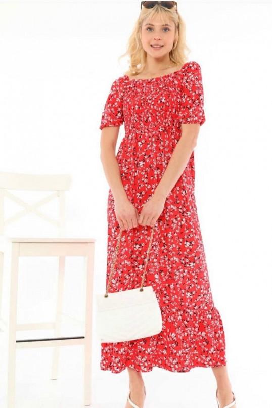 Yaka Lastikli Çiçekli Elbise Kırmızı