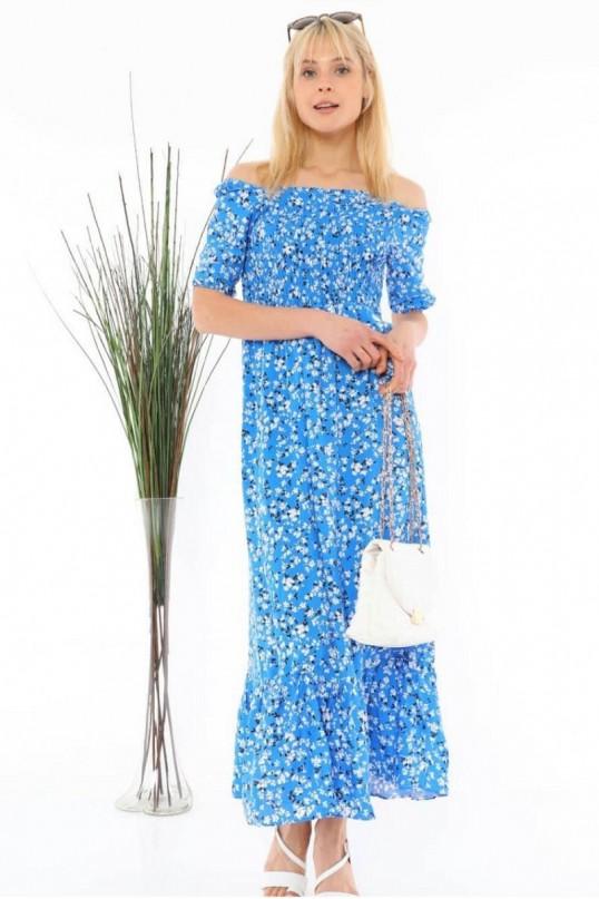 Yaka Lastikli Çiçekli Elbise Mavi