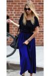 Kol Volanlı Alt Mavi Şifon Elbise