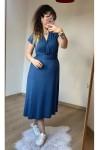 Kuşaklı Penye Elbise Mavi