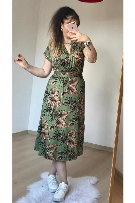 Kuşaklı Yaprak Desen Penye Elbise Yeşil