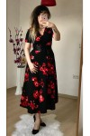 Kısa Kol Nar Çiçeği Krep Elbise