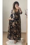 Öpücük Yaka Lacivert Krem  Çiçekli Elbise