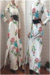Kemerli Beyaz Çiçek Elbise