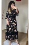 Bel Kalın Lastikli Çiçekli Elbise