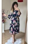 Hasır Kemerli Pembe Çiçekli Elbise