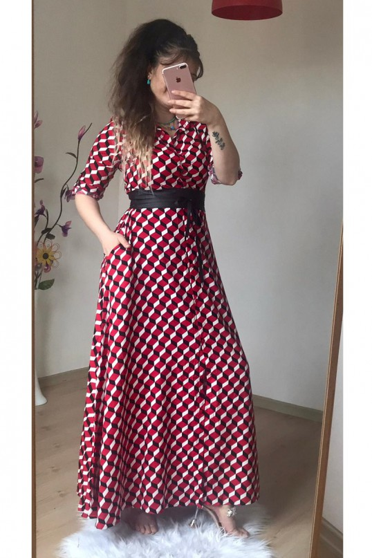 Esra Erol Gömlek Elbise Kırmızı