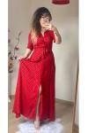 İri Puanlı Gömlek Elbise Kırmızı