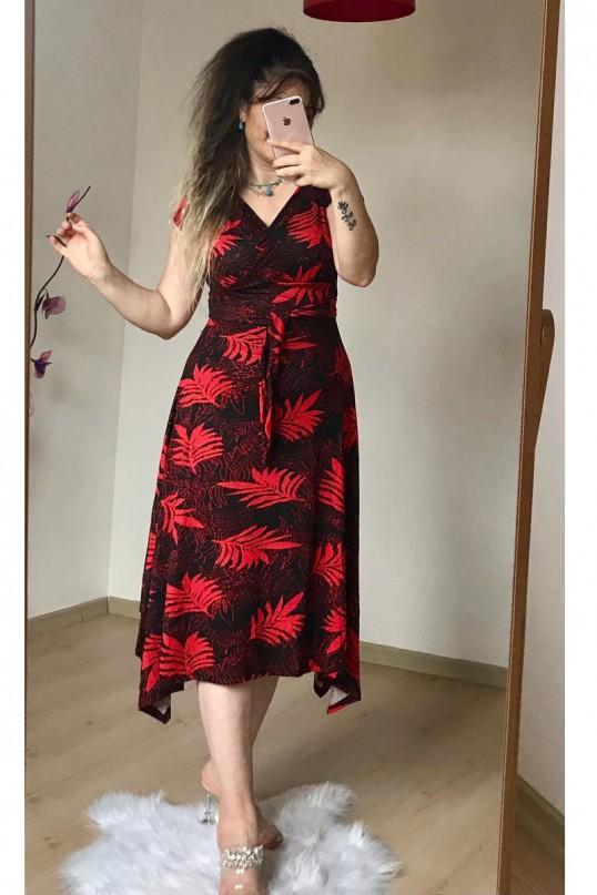 Etek Ucu Çapraz Kırmızı Yaprak Elbise