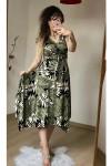Etek Ucu Çapraz Yeşil Yaprak Elbise