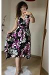 Etek Ucu Çapraz Mor Çiçek Elbise