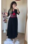 Nakışlı Etnik Siyah Elbise