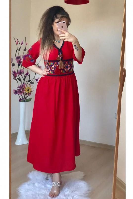 Nakışlı Etnik Kırmızı Elbise