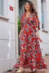 Kırmız Kravuze Çiçekli Elbise