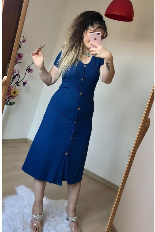 Kısa Kol  Tahta Düğmeli Elbise