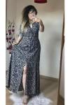 Siyah Çıtır Çiçekli Gömlek Elbise