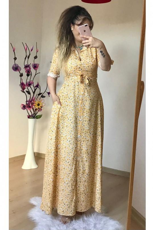 Sarı Çıtır Çiçekli Gömlek Elbise